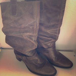 Brown Leather Rutched Boots
